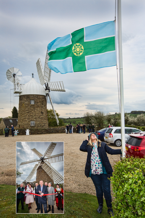 Aleena looks up at the Derbyshire flag flying at half-mast in memory of Andy Potter, shown (inset) opening the windmill in 2014